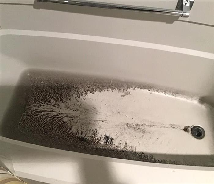 Sewage in a tub after a drain backup.