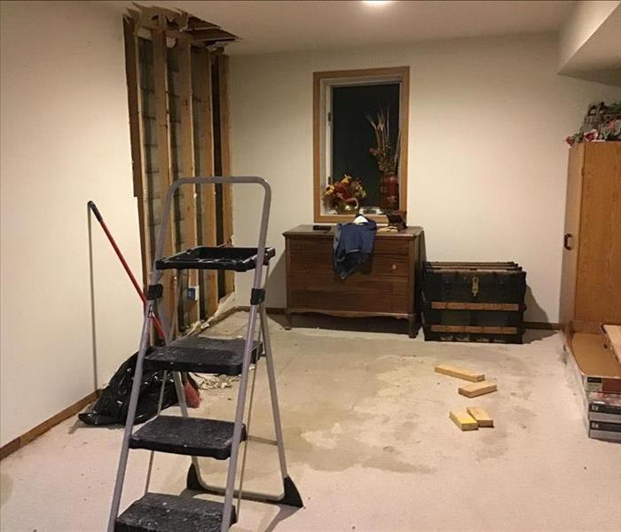 Finished basement with water damage