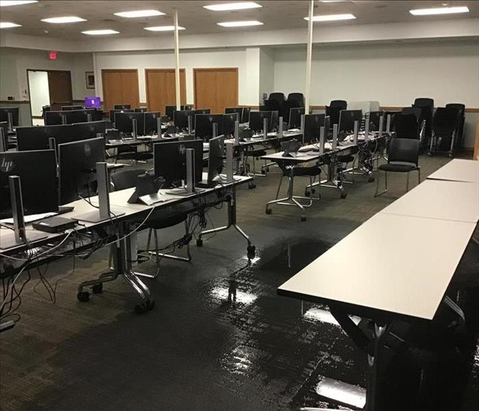 Flooded computer lab.