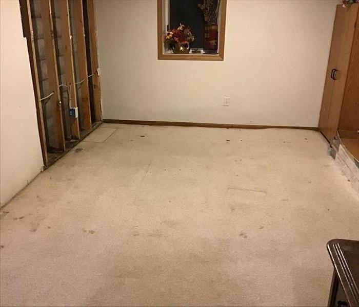 Finished basement after water extraction