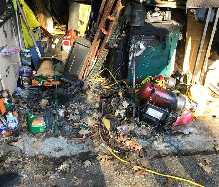 Garage with burned contents